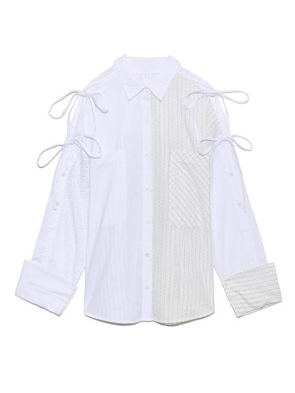 ストライプMIXシャツ(WHT-F)
