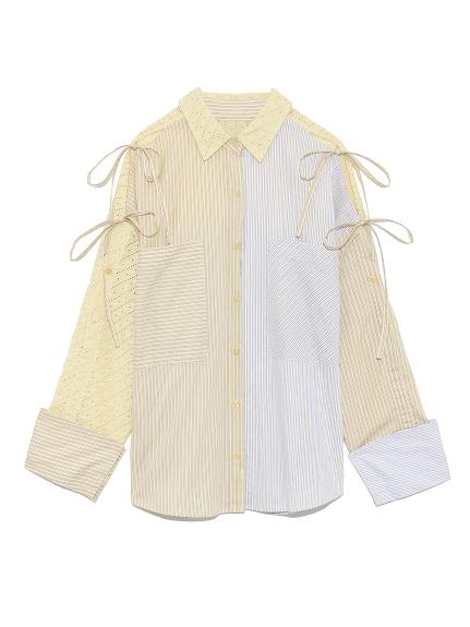 ストライプMIXシャツ(YEL-F)