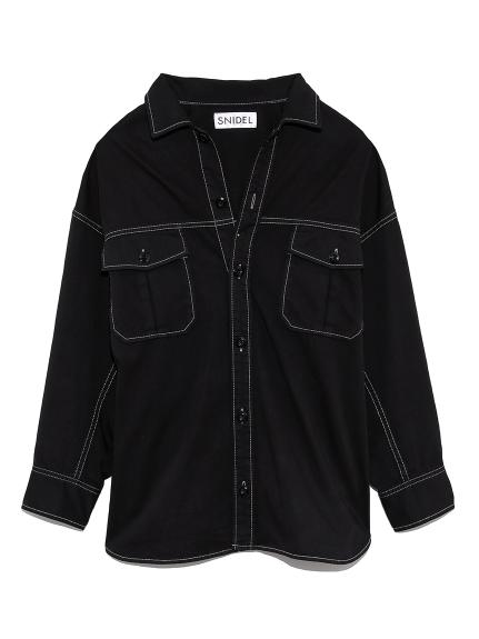 ミリタリーオーバーシャツ(BLK-F)