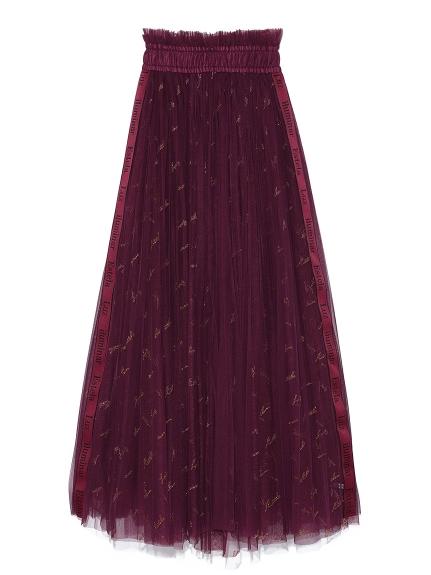 ロゴ刺繍チュールスカート