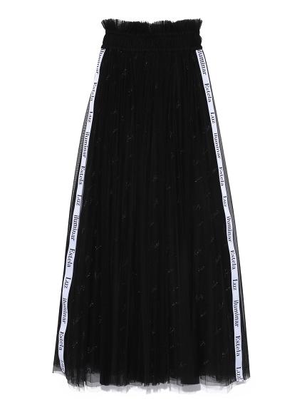 ロゴ刺繍チュールスカート(BLK-F)