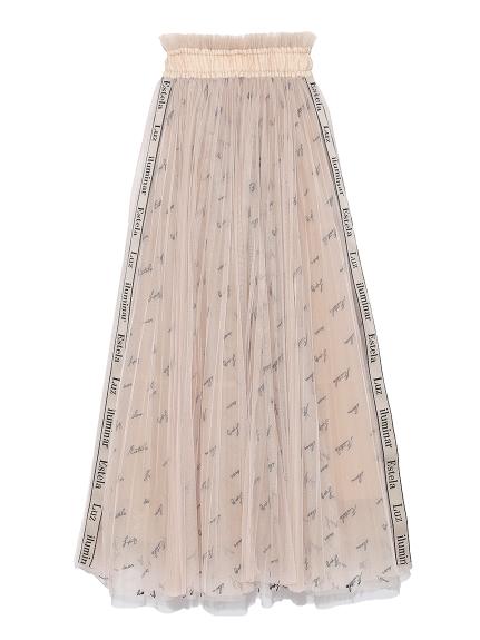 ロゴ刺繍チュールスカート(BEG-F)