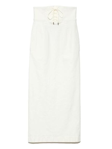 レースアップカラータイトスカート(WHT-0)