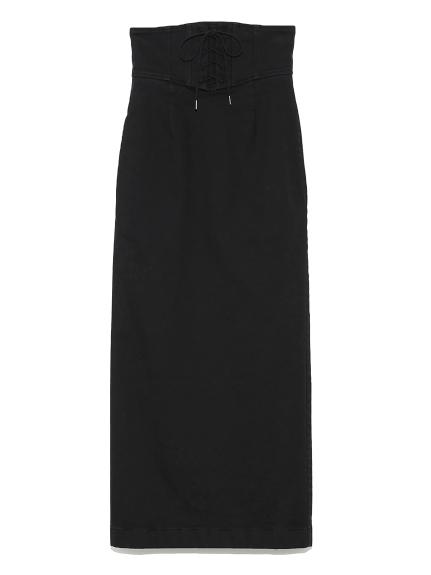 レースアップカラータイトスカート(BLK-0)