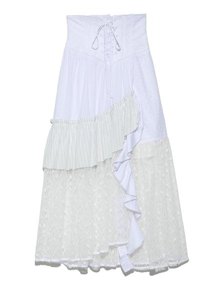ストライプMIXスカート(WHT-0)