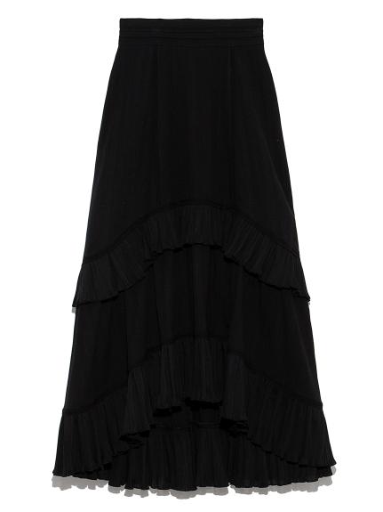 コットンレースイレヘムスカート(BLK-0)
