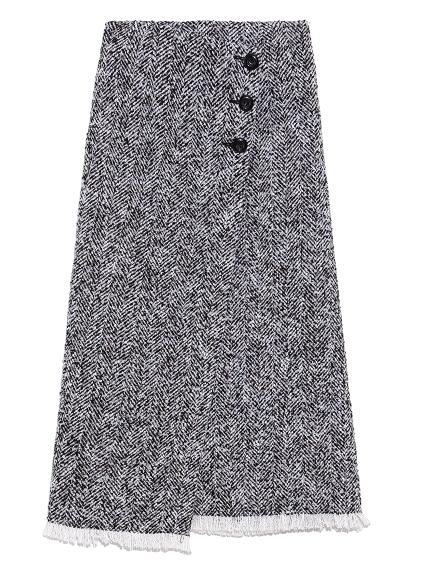 ロービングヘリンボーンスカート(BLK-0)